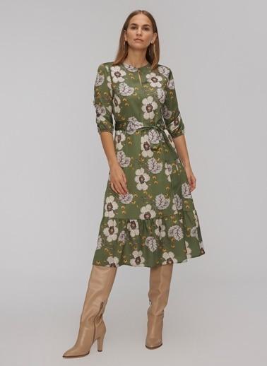 People By Fabrika Yakada Düğme Detaylı Bağlamalı Elbise Haki